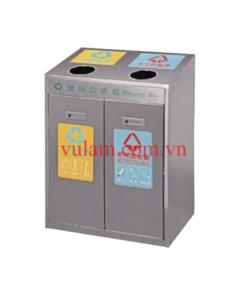 thùng rác inox công cộng 2 ngăn A37D