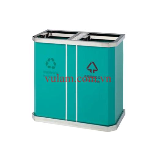 thùng rác inox 2 ngăn phân loại rác A45 xanh