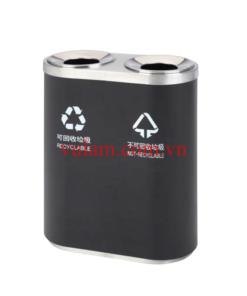 thùng rác inox 2 ngăn phân loại rác A46-A đen