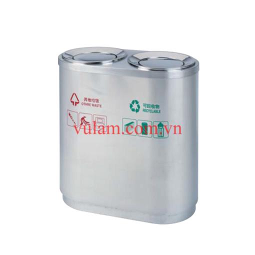 thùng rác inox 2 ngăn phân loại rác A56