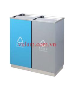 thùng rác inox 2 ngăn phân loại rác A58-K