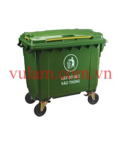 thùng rác nhựa 660 lít màu xanh lá