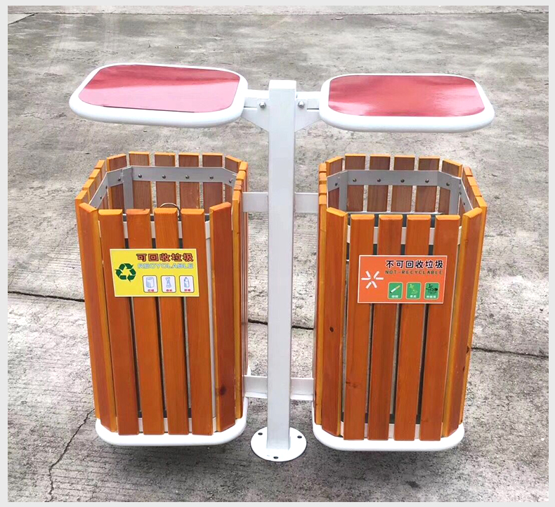 Thùng rác 2 ngăn gỗ vietbin